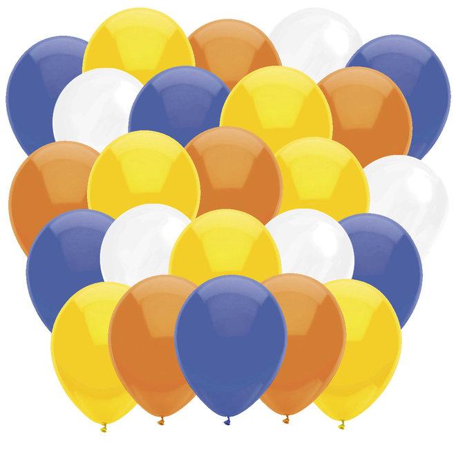 Ballonnen Geel / Wit / Oranje / Donkerblauw (40ST)