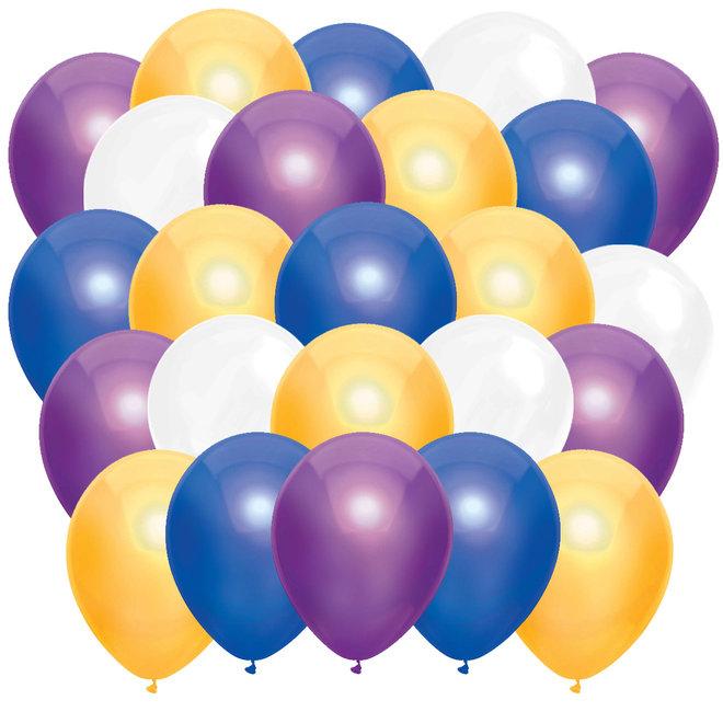 Ballonnen Metallic Donkerblauw / Geel / Paars / Wit (40ST)