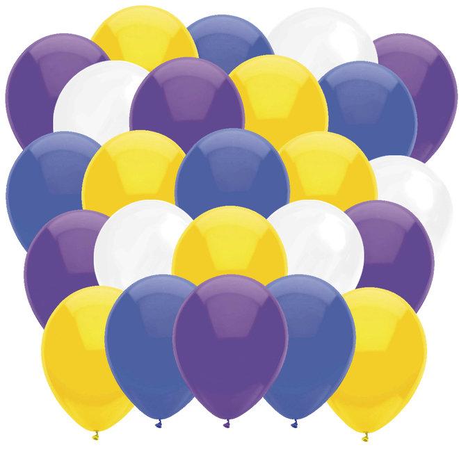 Ballonnen Donkerblauw / Geel / Paars / Wit (40ST)