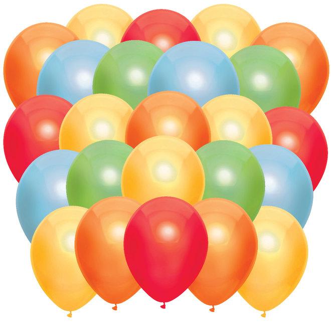 Ballonnen Metallic Rood / Geel / Oranje / Lichtblauw / Lichtgroen (40ST)