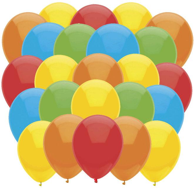Ballonnen Geel / Rood / Oranje / Lichtgroen / Lichtblauw (40ST)