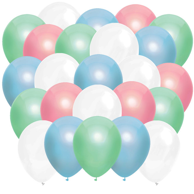 Ballonnen Metallic Mint / Babyroze / Babyblauw / Wit (40ST)