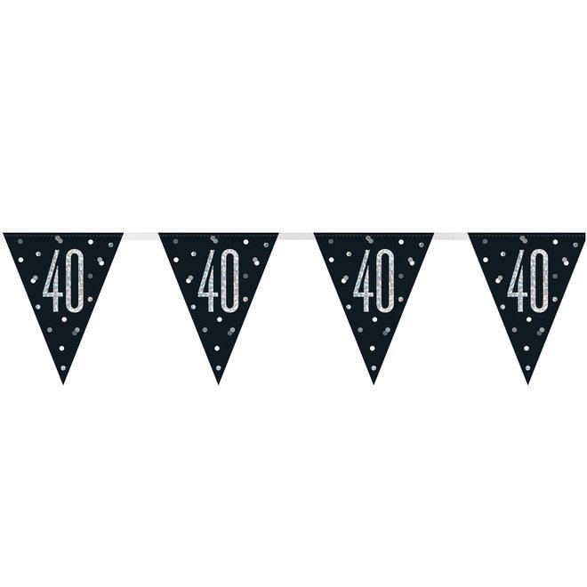 Vlaggenlijn 40 Jaar Zwart & Zilver 2.75M