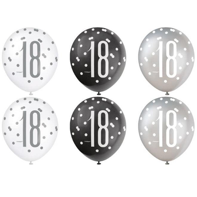Ballonnen 18 Jaar Zwart & Zilver 30CM (6ST)