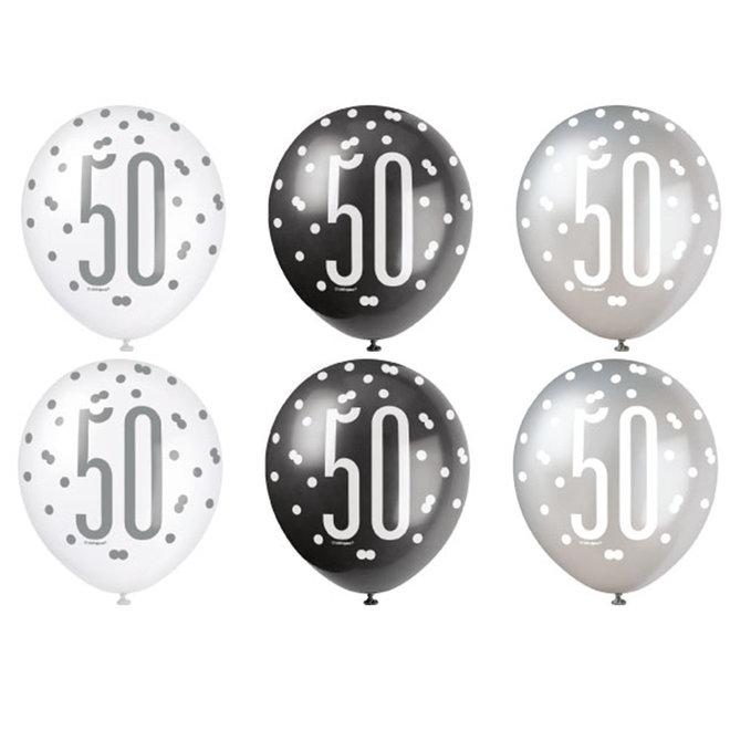 Ballonnen 50 Jaar Zwart & Zilver 30CM (6ST)