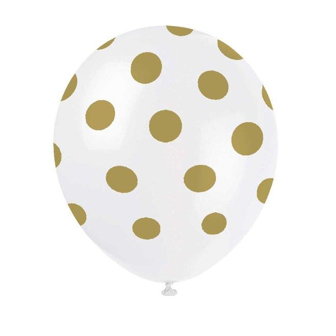 Ballonnen Stippen Goud 30CM (6ST)