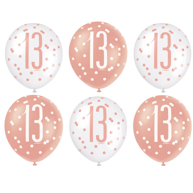 Ballonnen 13 Jaar Rosé Goud & Wit 30CM (6ST)