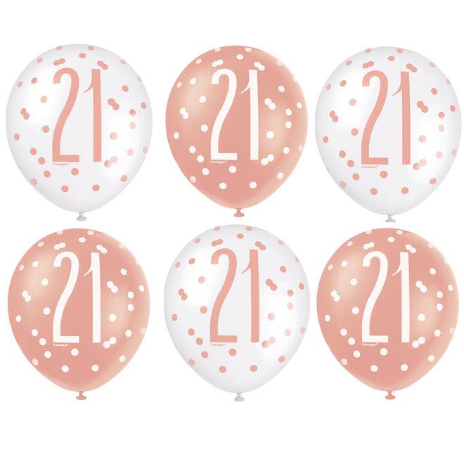 Ballonnen 21 Jaar Rosé Goud & Wit 30CM (6ST)