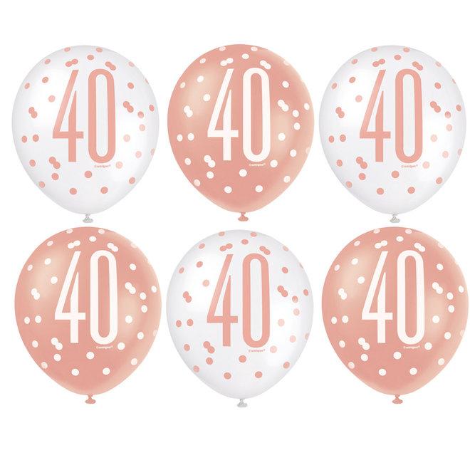 Ballonnen 40 Jaar Rosé Goud & Wit 30CM (6ST)