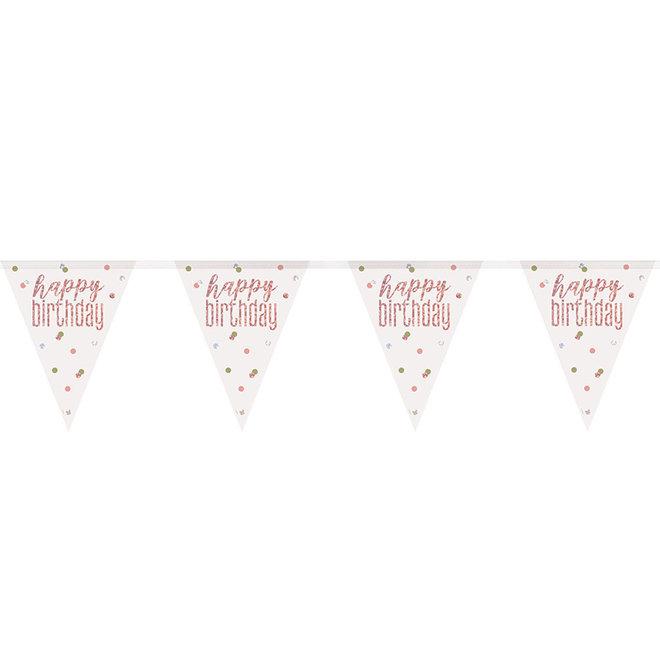 Vlaggenlijn Happy Birthday Rosé Goud & Wit 2.75M