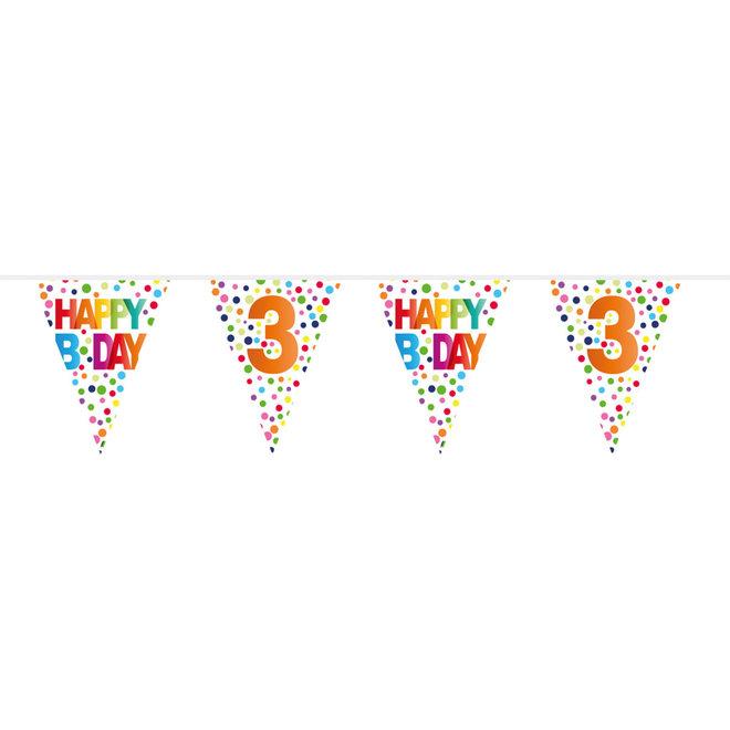 Vlaggenlijn 3 Jaar Happy Birthday (10M)
