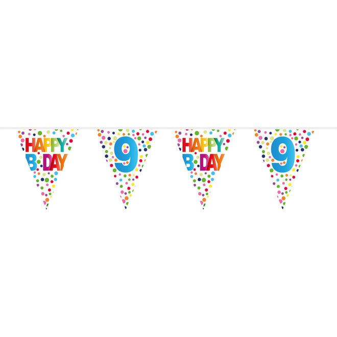 Vlaggenlijn 9 Jaar Happy Birthday (10M)