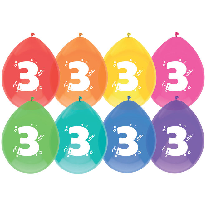 Ballonnen 3 Jaar Multicolor 30CM (8ST)