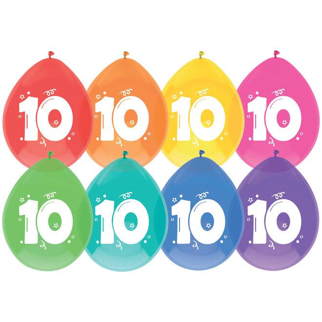 Ballonnen 10 Jaar Multicolor 30CM (8ST)