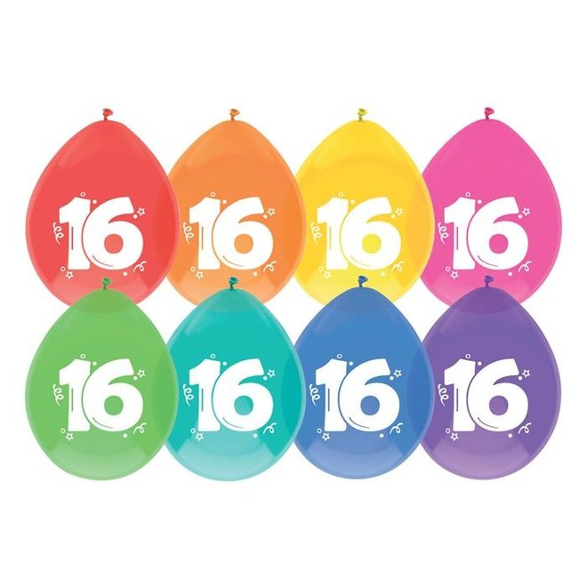 Ballonnen 16 Jaar Multicolor 30CM (8ST)