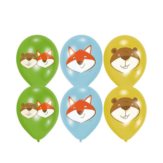 Ballonnen Fox & Beaver 28cm (6ST)