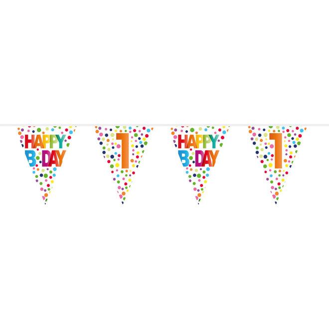 Vlaggenlijn 1 Jaar Happy Birthday Dots 10M