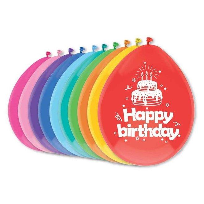 Ballonnen Happy Birthday Multicolor 30CM (10ST)