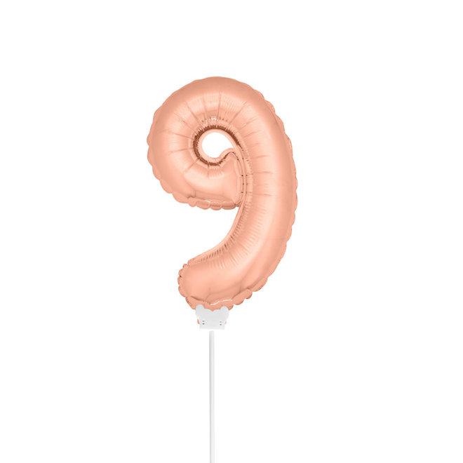 Folie Ballon Rosé Goud 9 Jaar 36CM