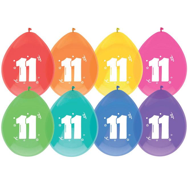 Ballonnen 11 Jaar Multicolor 30CM (8ST)