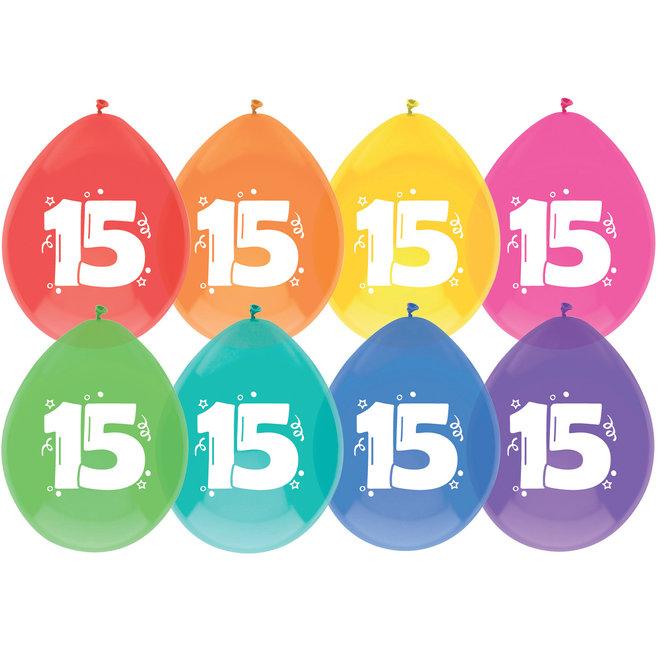 Ballonnen 15 Jaar Multicolor 30CM (8ST)