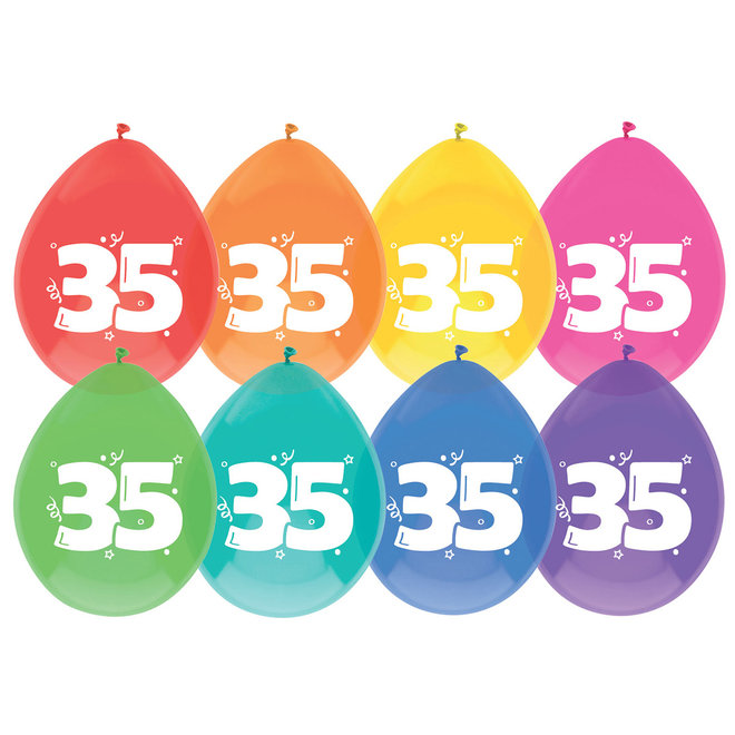 Ballonnen 35 Jaar Multicolor 30CM (8ST)