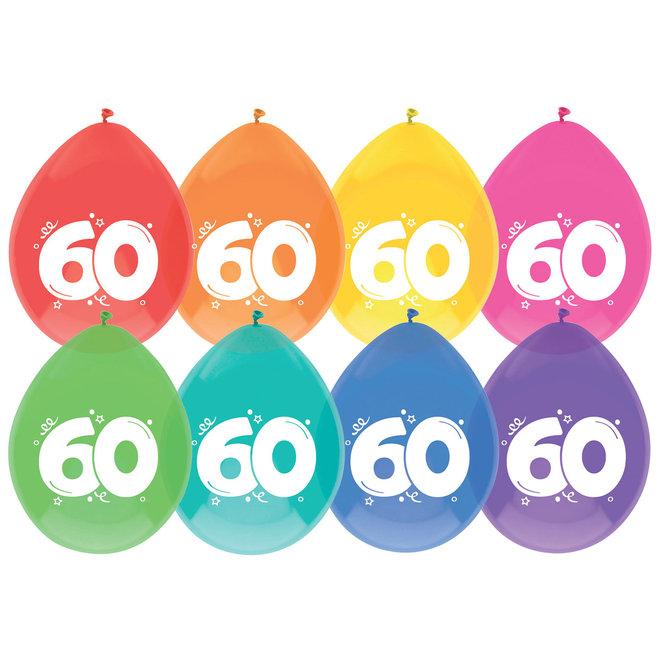 Ballonnen 60 Jaar Multicolor 30CM (8ST)