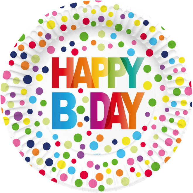 Bordjes Happy Birthday Stippen Multicolor 23CM (8ST)