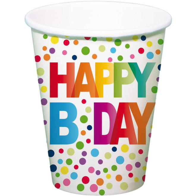 Bekertjes Happy Birthday Stippen Multicolor 250ML (8ST)