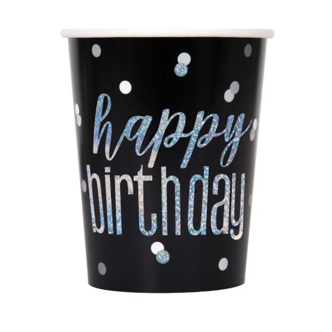 Bekertjes Folie Zwart & Zilver Happy Birthday 270ML (8ST)