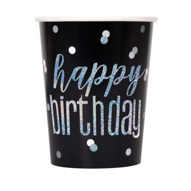 Bekertjes Happy Birthday Zwart & Zilver 270ML (8ST)
