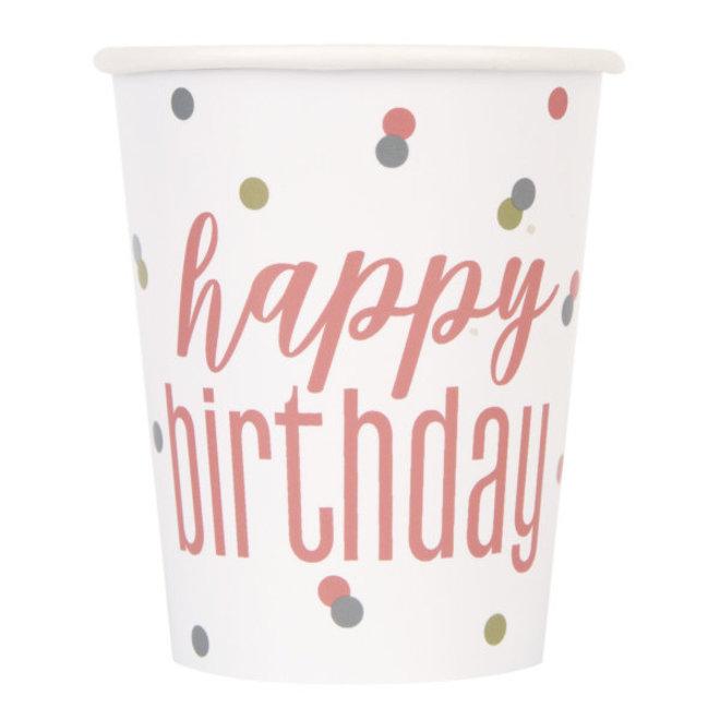 Bekertjes Rosé Goud Happy Birthday 270ML (8ST)