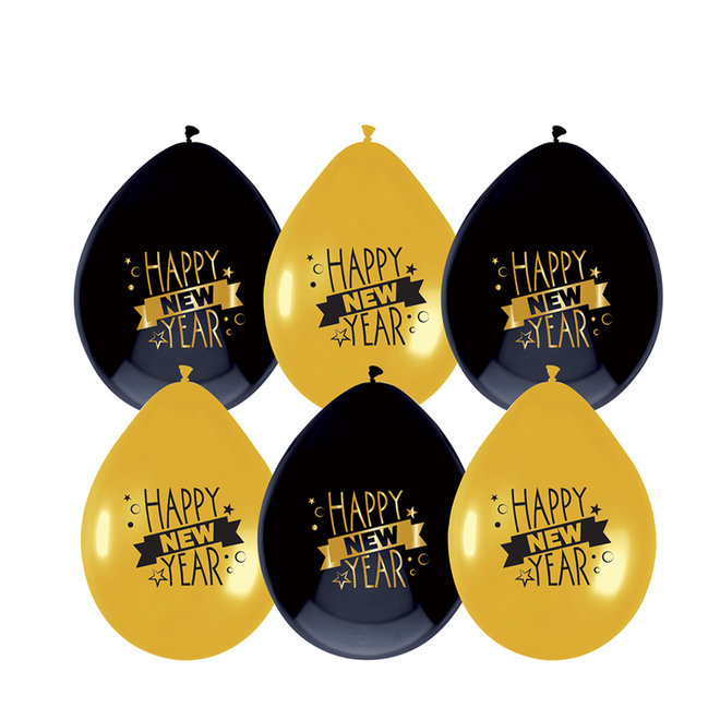 Ballonnen Happy New Year (6ST)