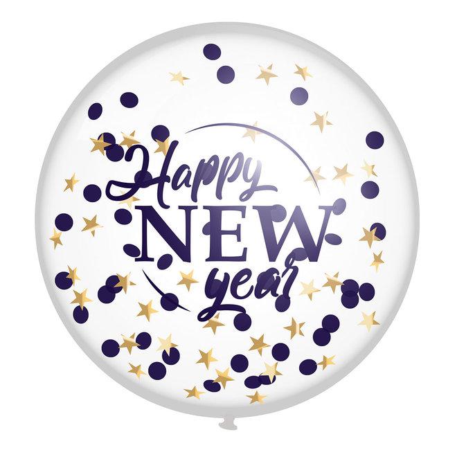 Mega Confetti Ballonnen Happy New Year 60CM