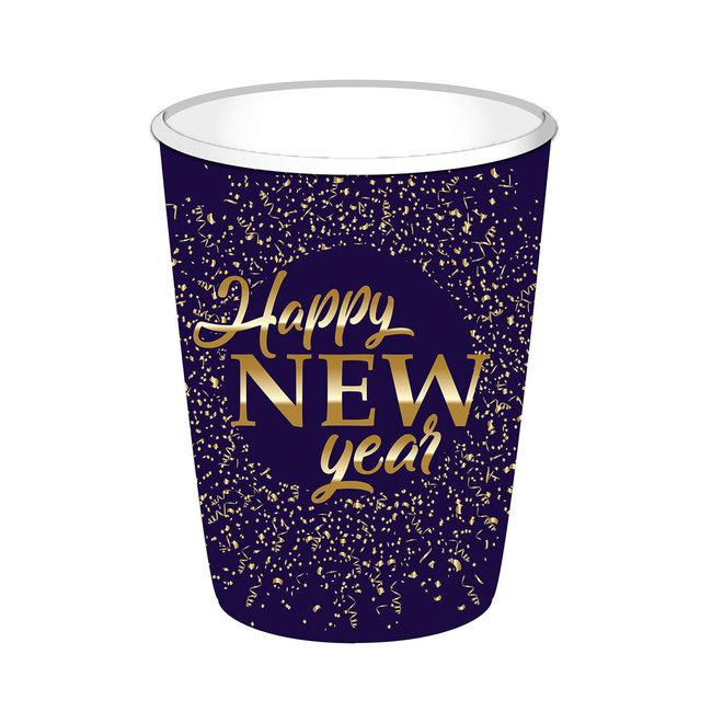 Bekertjes Happy New Year Blauw / Goud 250ML (8ST)