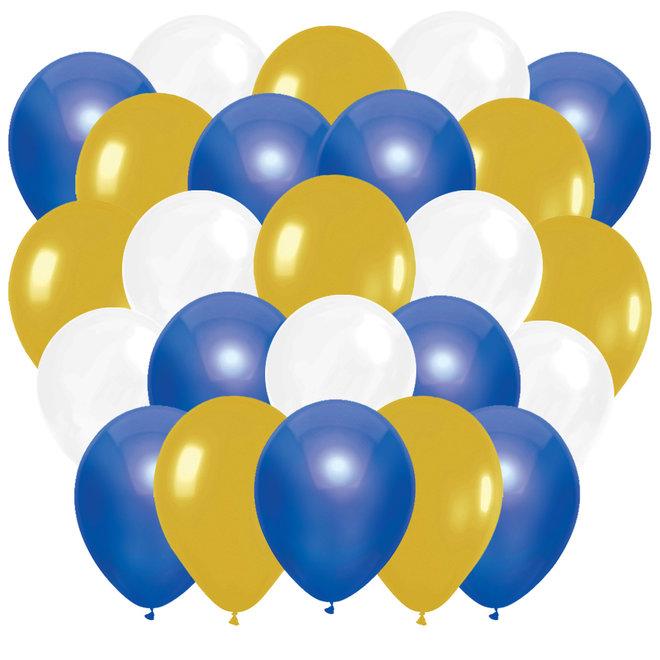 Ballonnen Happy New Year Blauw / Goud / Wit (45ST)