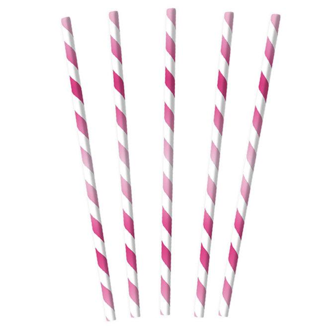 Papieren Rietjes Mix Roze (12ST)
