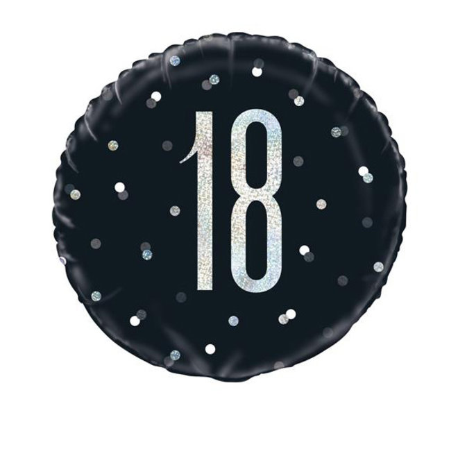Folie Ballon Zwart & Zilver 18 Jaar (45CM)