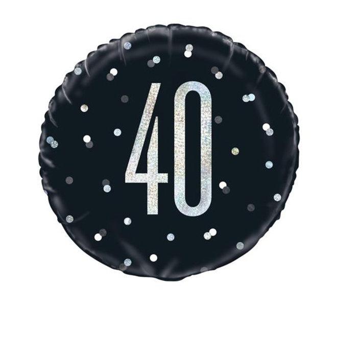 Folie Ballon Zwart & Zilver 40 Jaar (45CM)