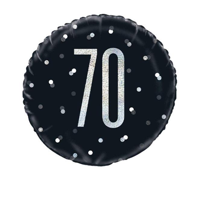 Folie Ballon Zwart & Zilver 70 Jaar (45CM)
