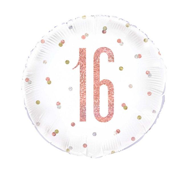 Folie Ballon Rond Rosé Goud & Wit 16 Jaar (45CM)