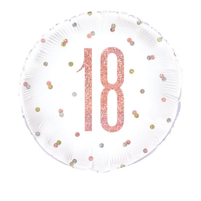 Folie Ballon Rosé Goud & Wit 18 Jaar (45CM)