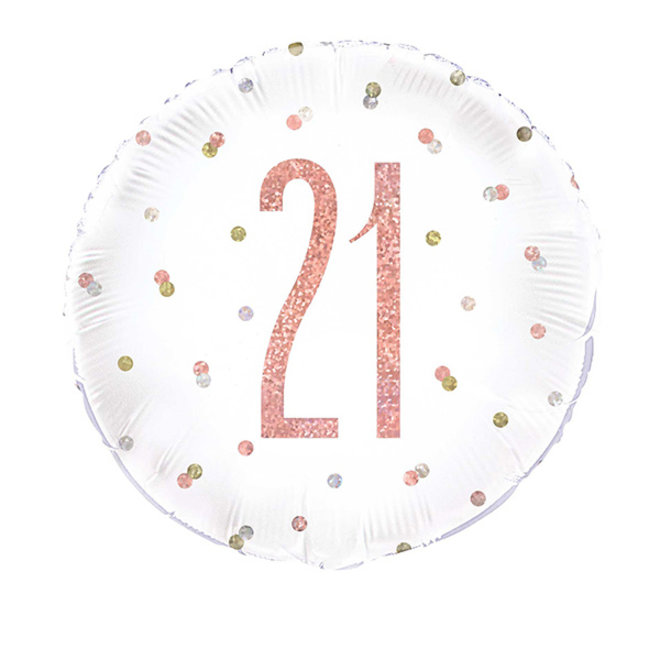 Folie Ballon Rosé Goud & Wit 21 Jaar (45CM)