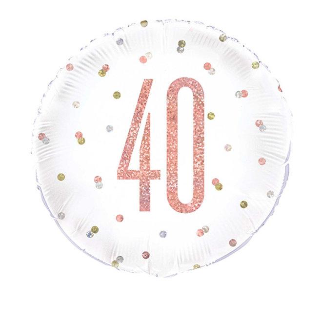 Folie Ballon Rosé Goud & Wit 40 Jaar (45CM)