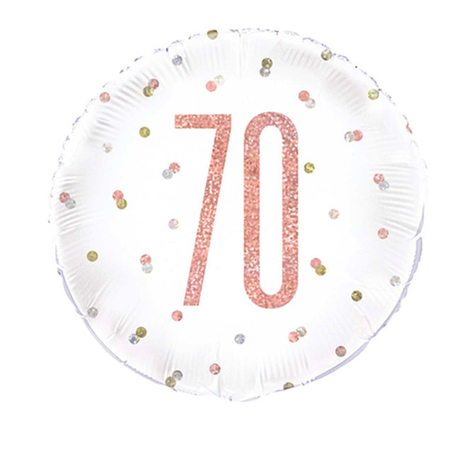 Folie Ballon Rosé Goud & Wit 70 Jaar (45CM)