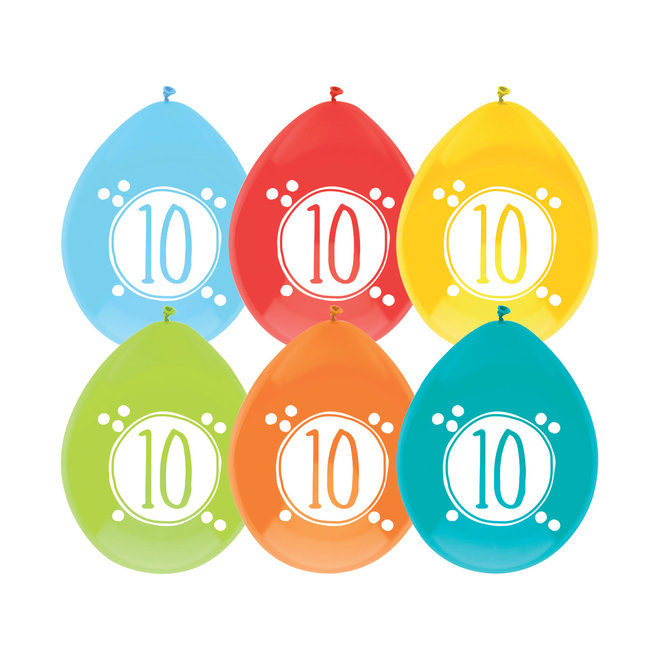 Ballonnen Festive Colors 10 Jaar 30CM (6ST)