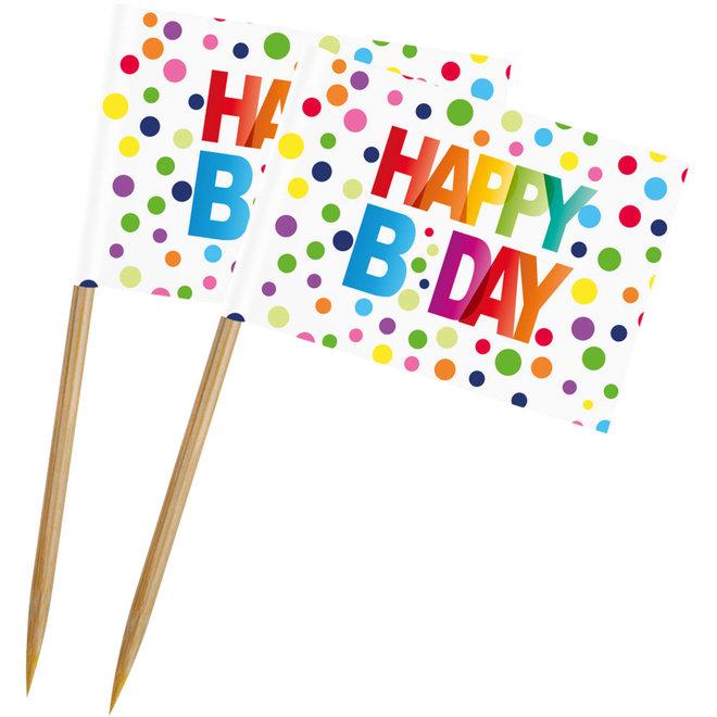 Cocktail Prikkertjes Happy Birthday Dots (50ST)