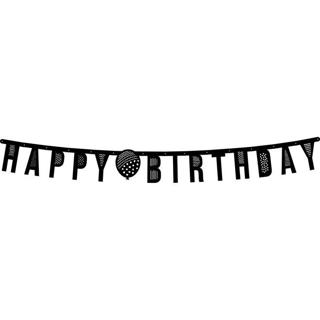 Letterslinger Happy Birthday Zwart 1.5M