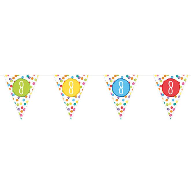 Papieren Vlaggenlijn Festive Colors 8 Jaar (6M)