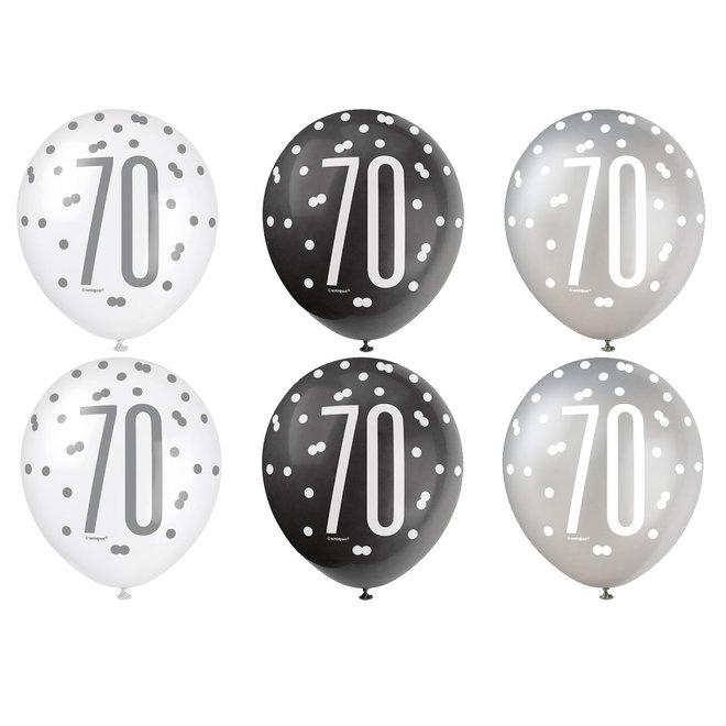 Ballonnen 70 Jaar Zwart & Zilver 30CM (6ST)